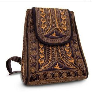 BANDA BAGS Kuasa Brown/Black Boho Backpack